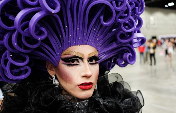 Drag queen with a blue hair