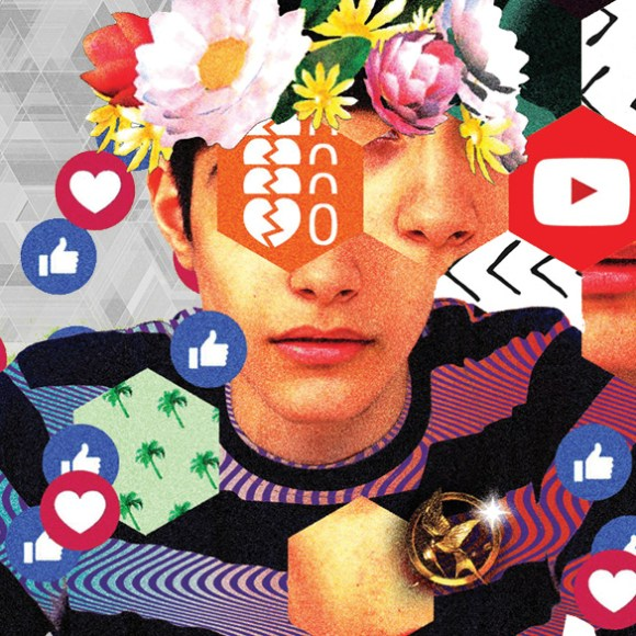 Generation Z - a surreal portrait of a boy surrounded social media and internet symbols