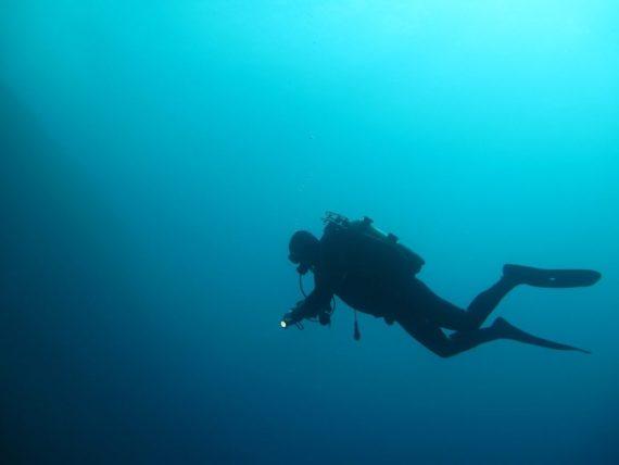 Communication en plongée : un plongeur illumine les fonds marins avec sa lampe