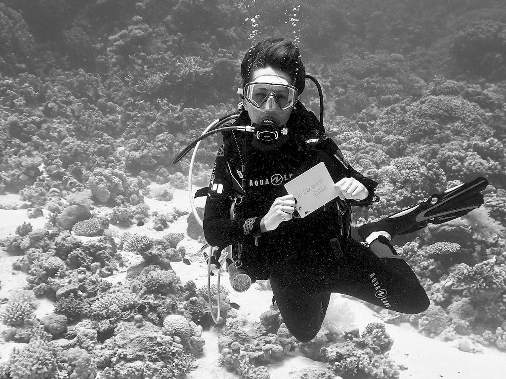 Une plongeuse montre un tableau blanc sous l'eau pour inciter les abonnés à s'inscrire à la newsletter