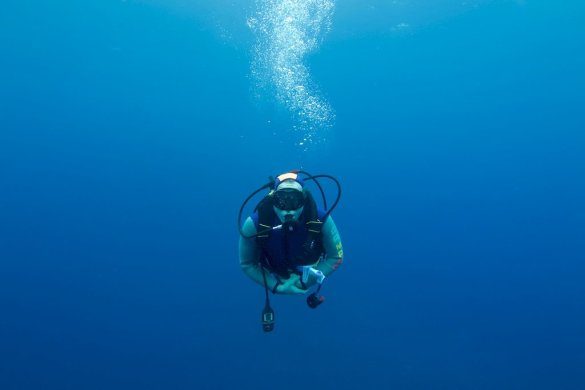 Un plongeur seul dans le grand bleu