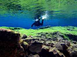 Un plongeur nageant proche de la surface à la faille de Silfra