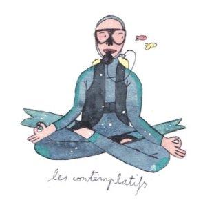 Illustration de Sara Quod représentant un plongeur de profil contemplatif