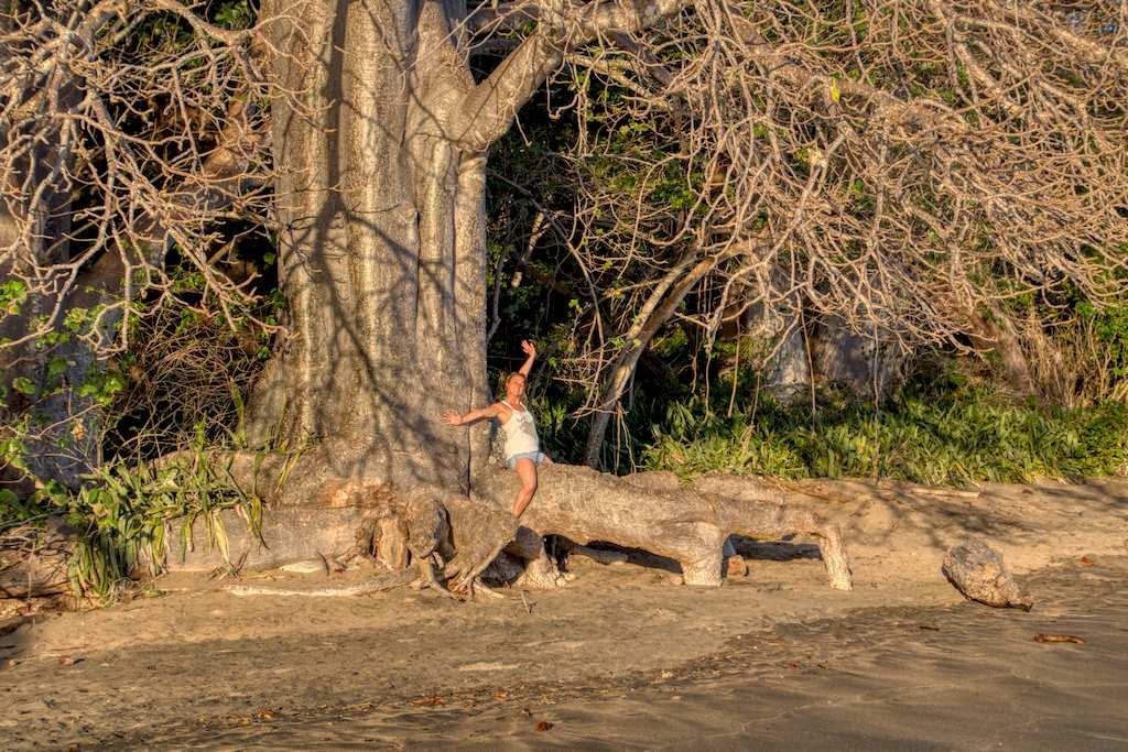 Hélène sur un baobab lors d'un séjour où elle à été plonger à Mayotte
