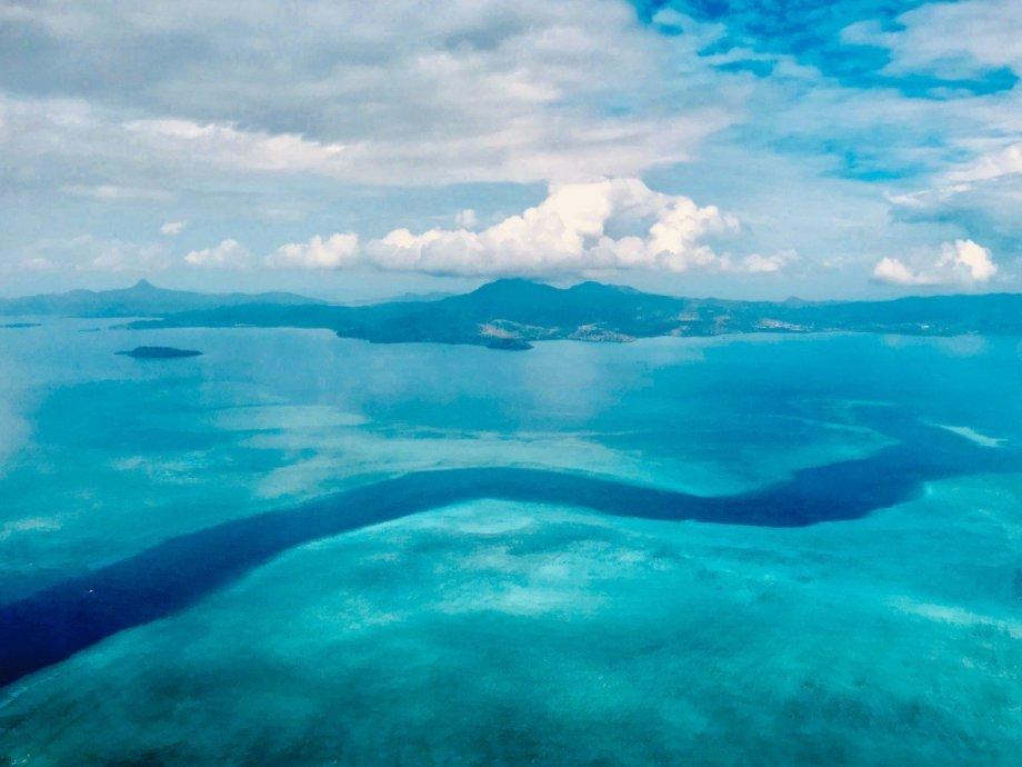 La passe en S à Mayotte vue du ciel