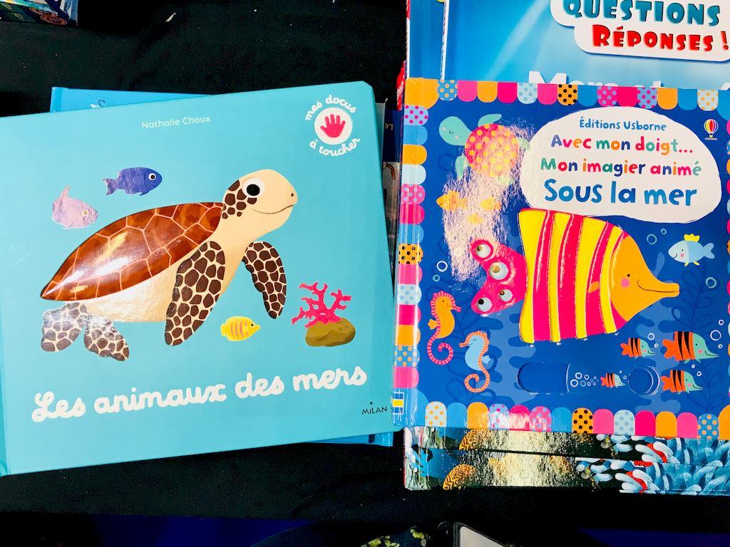 Deux livres sur les océans pour les enfants de bas-âge.