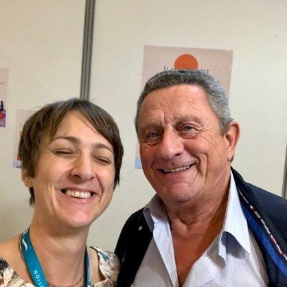 Hélène au Salon de la Plongée 2020 avec son plus grand fan