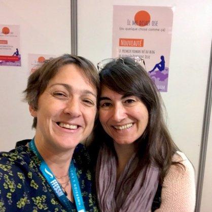 Hélène au Salon de la Plongée 2020 avec Corinne Bourbeillon