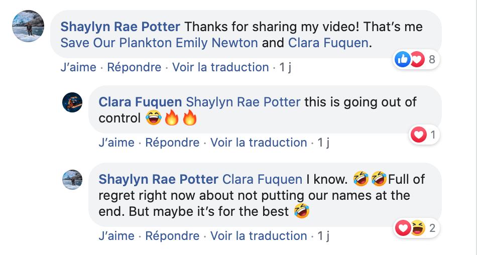 Copie d'un commentaire sur une page Facebook