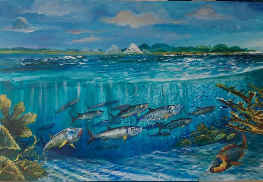 Un tableau de Dominique Sérafini représentant les fonds marins de Bonaire.