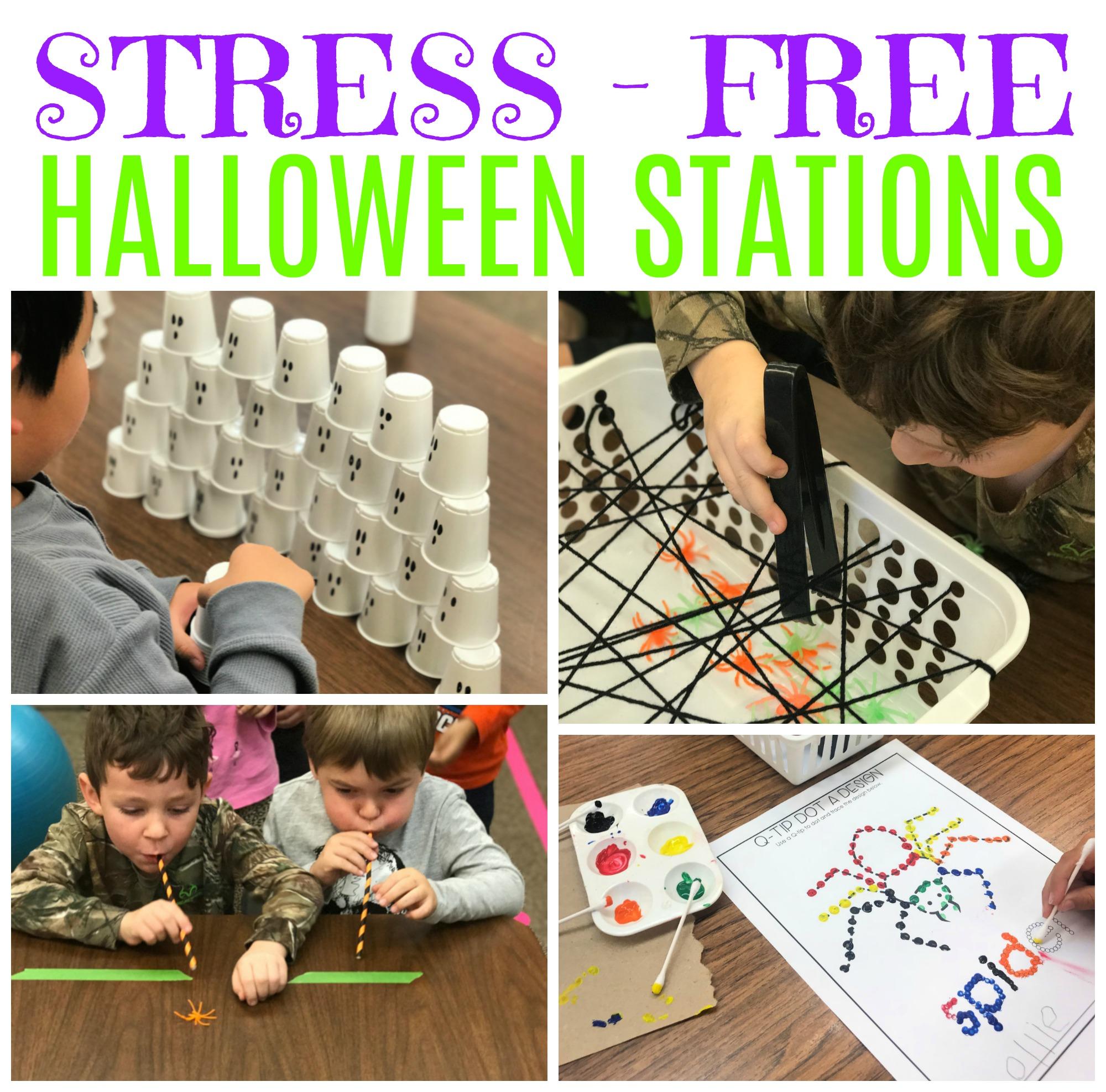 Stress Free Halloween Fun Station Activities