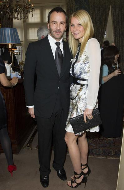 Gwyneth Paltrow carrying an ela MILCK stud clutch with designer Tom Ford, 2013. Photo: ela