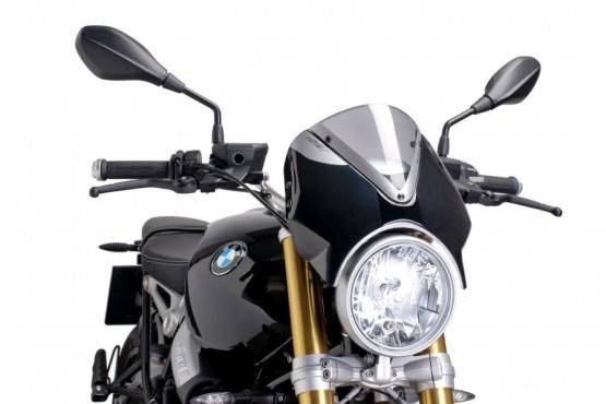 Cúpula Naked BMW R NINE T (2014-2017 ) Puig Color Ahumado Claro. Carcasa Negra - Ref. 7012H