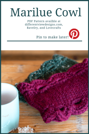 Pinterest pin graphic for the Marilue cowl pattern