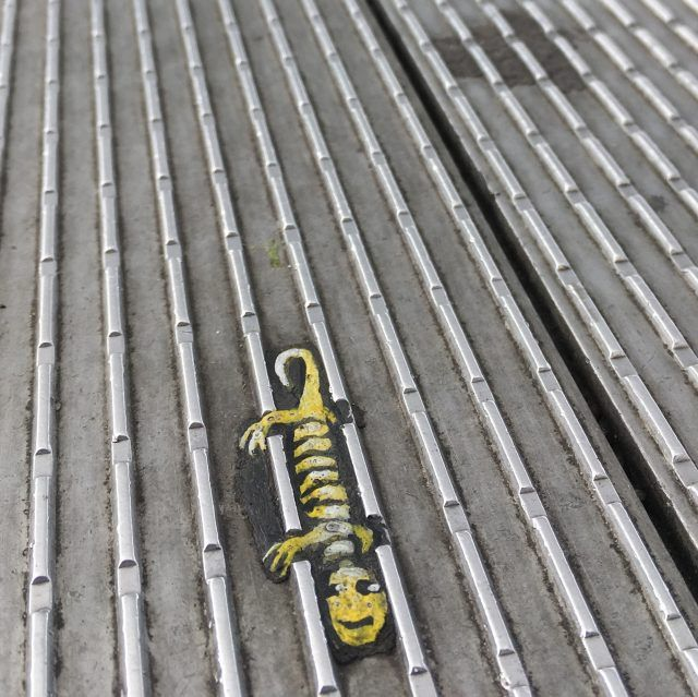 Chewing gum art on London's Millennium Bridge