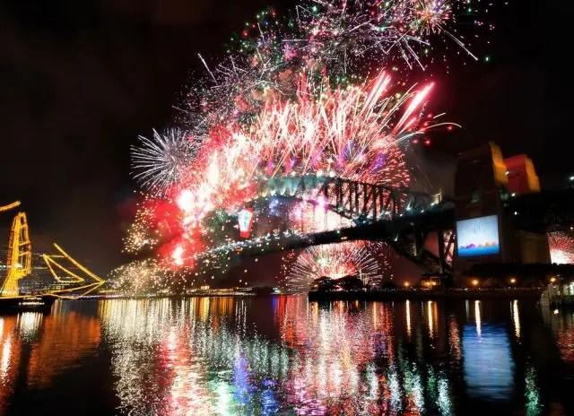 Fireworks on NYE Sydney Harbour Bridge