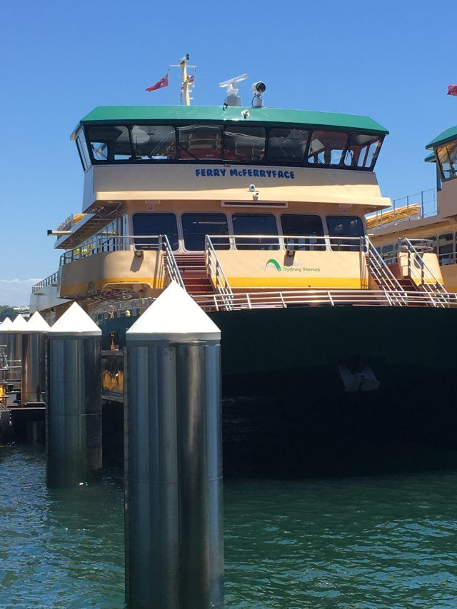 Ferry MdFerryface is one of the new ferries in Sydney Harbour. Spotting her is one of the fun things to do in Circular Quay