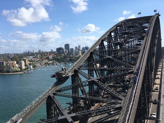 This is the view from the Sydney Harbour Bridge Pylon Lookout which costs just $15 to climb.