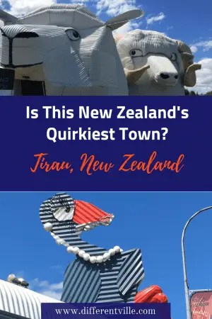 Tirau, in New Zealand's North Island is famous for it's quirky iron signs - including a giant, dog, sheep and ram. Here's why they are they - and how you can go and see them. #quirkytravel #tirau #daytripsfromauckland