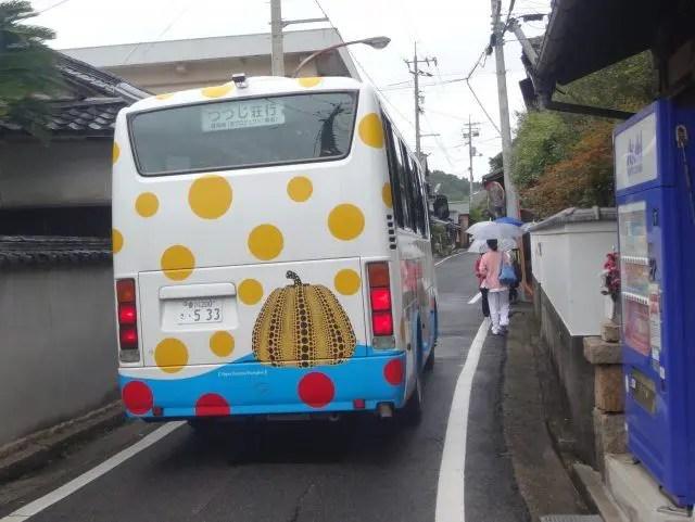 Even the bus has pumpkins on Naoshima Art Island