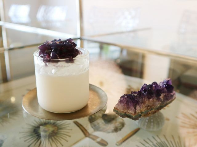 Every dish on this quirky Kyoto cafe's menu is designed to look like rocks or crystals. This is the amethyst panna cotta.