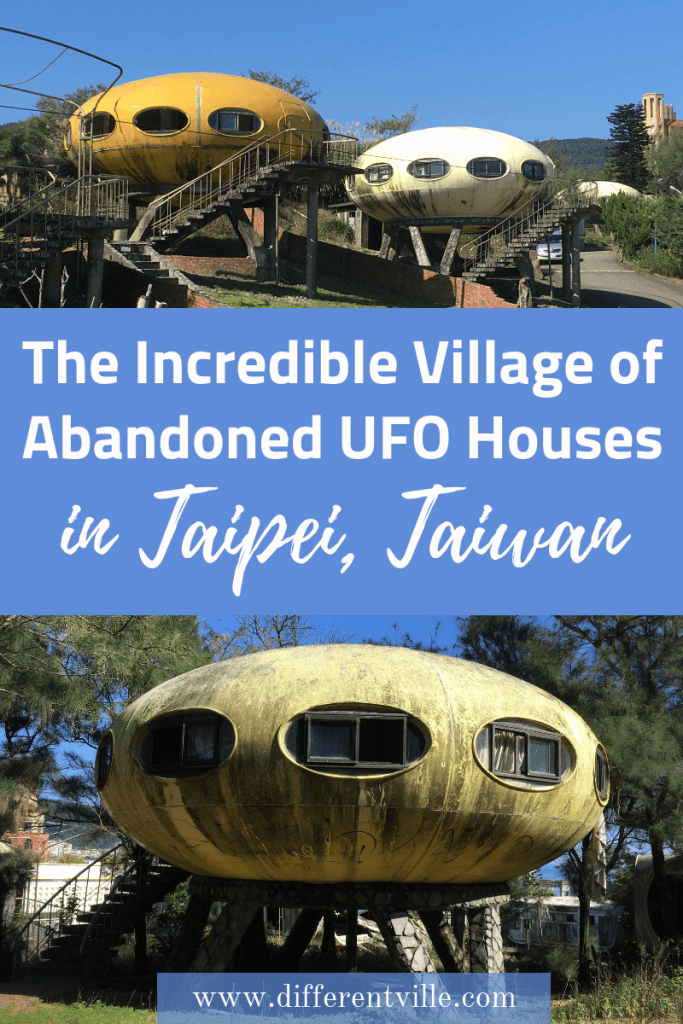 Just a short bus ride from Taipei, Taiwan is an abandoned village of UFO style Futuro Houses. Here's how to find it if you're planning a trip to Taipei and are looking for something a different thing to add to your list of things to do in Taipei. Click to read it now or save it to your Taipei or Taiwan board for later. #taipei #futurohouses #architecture #thingstodointaipei #taiwan