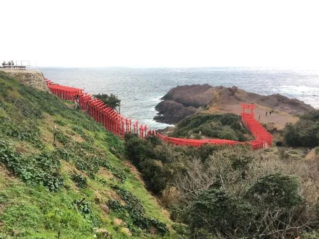 Motonosumi Inari Shrine in Japan consists of 123 scarlet torii gates perched on top of a craggy rock by the sea.