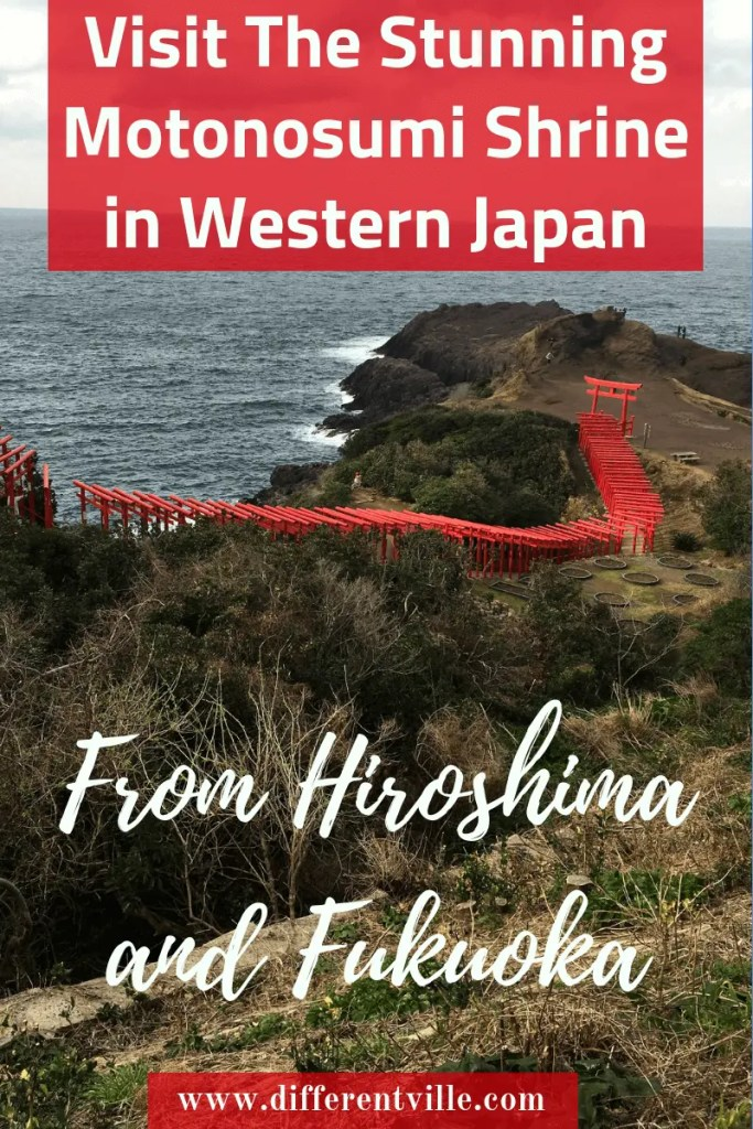 The Stunning Motonosumi Shrine is one of the most beautiful sights in Japan. Located on a clifftop in Western Japan you can visit for the day from Hiroshima or Fukuoka (and maybe Osaka). Here's how to get there - or where to stay nearby. #motonosumiinari #westernjapan #nagato #japaneseshrines #thingstoseeinjapan
