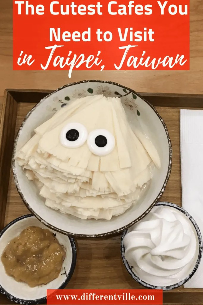 Googly eyed, fan-shaped ice dessert from Roji Monster Ice one of Taipei's cute cafes.