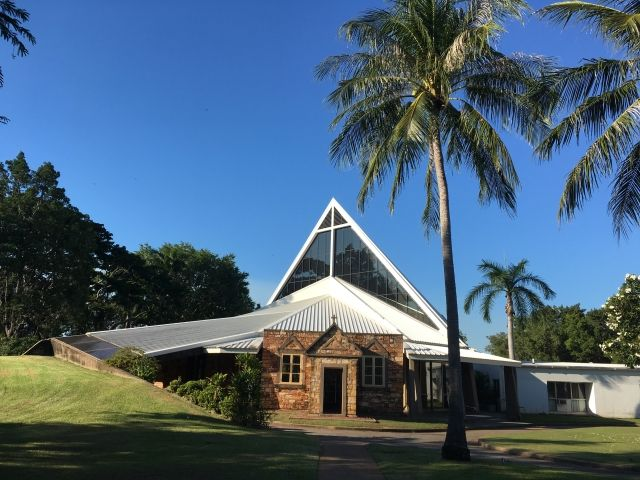 Darwin cathedral uses the original entrance with a modern building behind