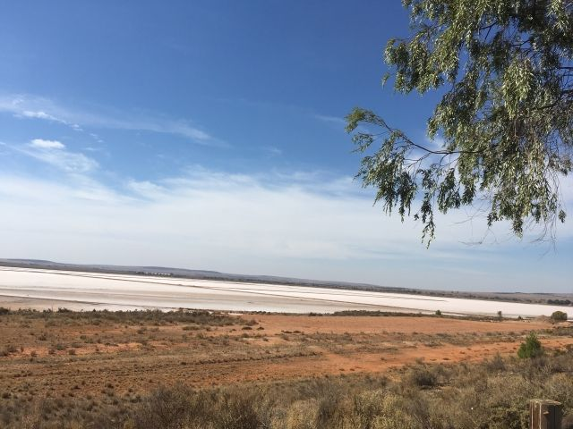White salt lake in the distance