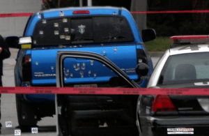 This is a blue Toyota Tacoma. Dorner's truck is a silver Nissan Titan. Oops.