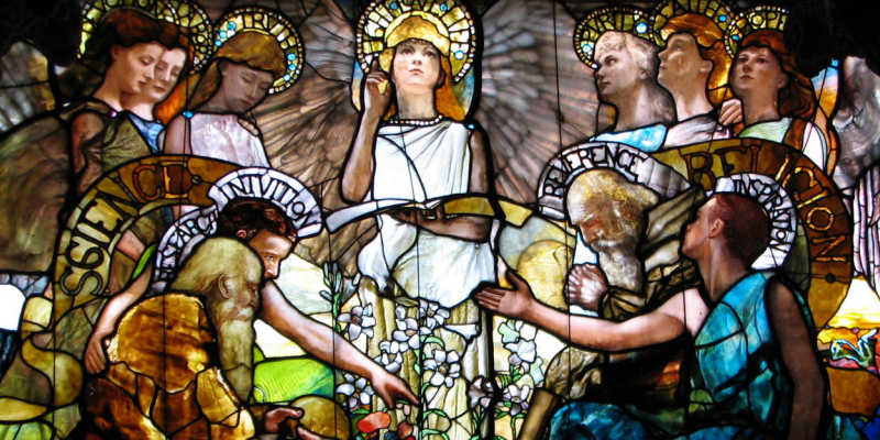 "Detail from stained glass work ""Education""(Chittenden Memorial Window at Yale). Public domain. (Image links to original.)"