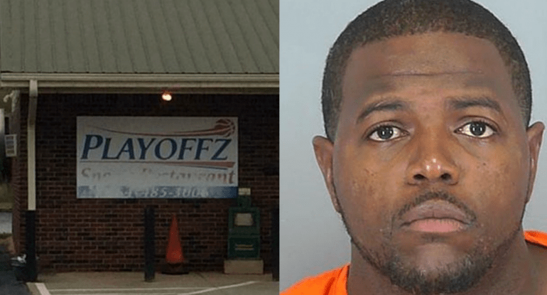 Left: Playoffz night club where the shooting occurred. Right: Jody Ray Thompson, the shooter.