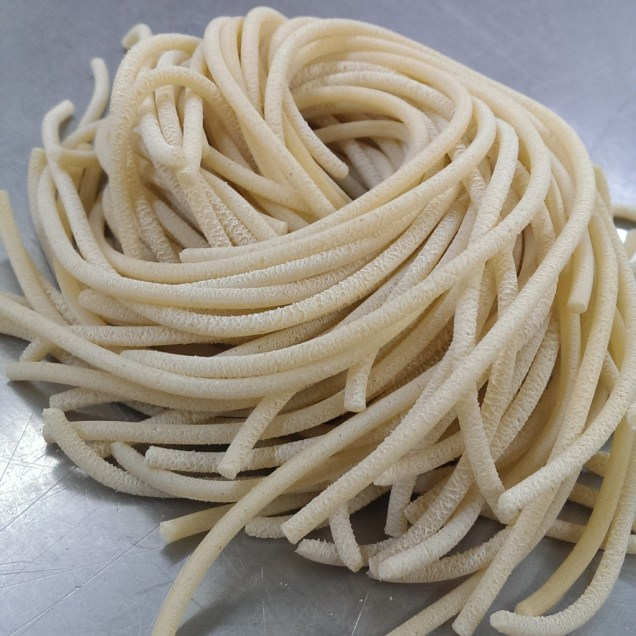Fresh cut thick spaghetti. $3.95/lb