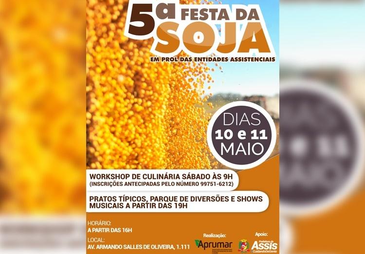 Com shows musicais e cardápio variado, Festa da Soja será nos dias 10 e 11 de maio na Aprumar