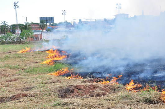 Com tempo seco, queimadas em terrenos baldios estão sendo cada vez mais frequentes