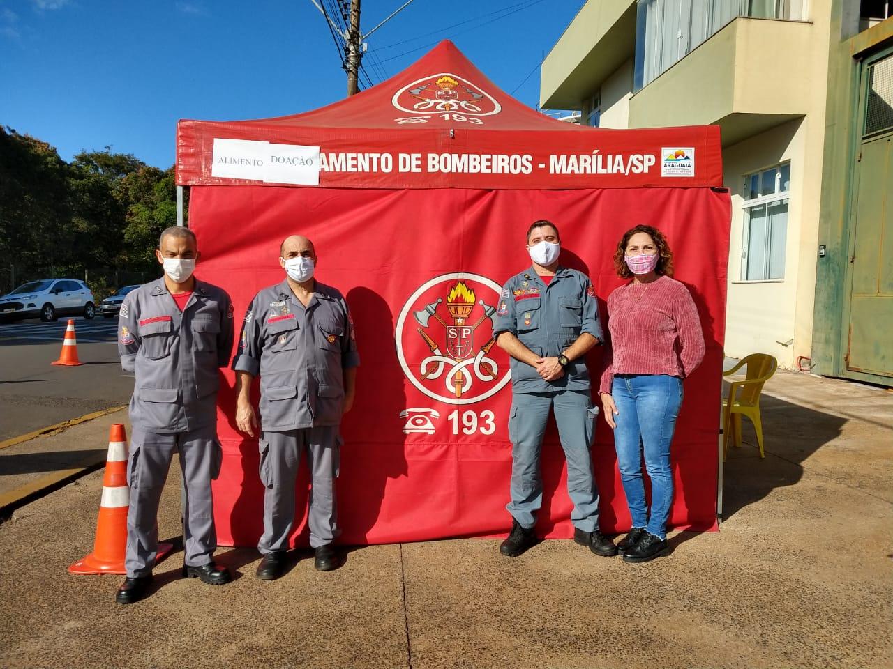 Drive Thru Solidário do Corpo de Bombeiros arrecada mais de 600 quilos de alimentos