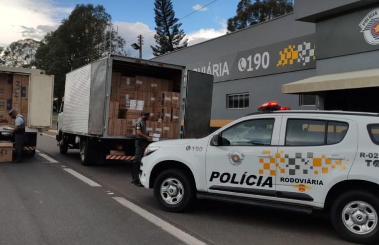 Polícia Rodoviária apreende (duzentos mil) maços de cigarros contrabandeados oriundos do Paraguai.