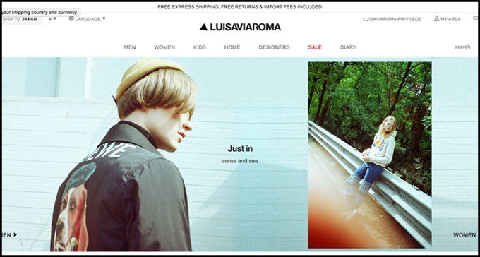 Luisaviaromaの通販サイトのキャプチャ