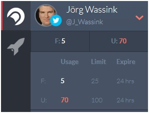 """Täglich stehen deem User in der kostenlosen Version von Crowdfire 25 """"Follows"""" (F) und 100 """"Unfollows"""" (U) zur Verfügung"""
