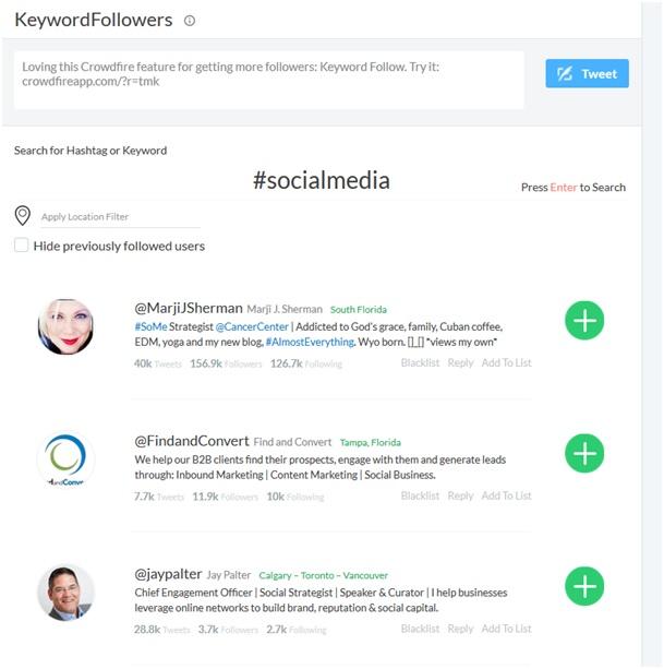Crowdfire erlaubt usern die Suche nach spannenden ccounts mittels Hashtag-Suche.