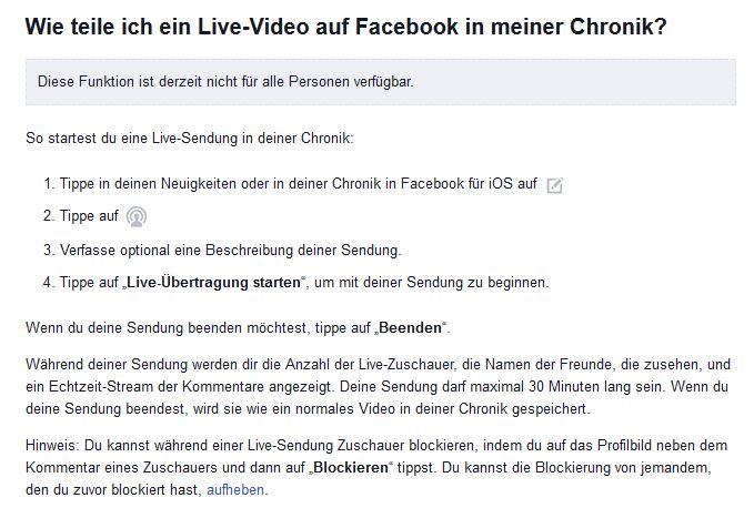 Deutsche Facebook-Beschreibung von Live-Video