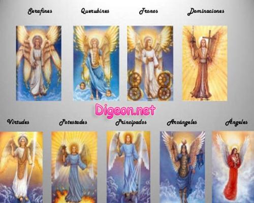LOS ÁNGELES Y SUS JERARQUÍAS CELESTIALES. Los coros a los que pertenecen los diferentes tipos de ángeles, y la misión de cada uno de los coros angelicos. Jerarquía de los ángeles, tipos de ángeles y demonios, y sus potestades angelicales. Los ángeles serafines, los ángeles tronos, los tipos de ángeles caidos y los coros de serafines y los nueve coros angélicos