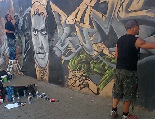 Graffiti jam in H.R. Giger ✙ Memoriam, digerible arte urbano