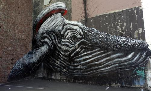 Roa, arte urbano en Stavanger, Noruega, digerible