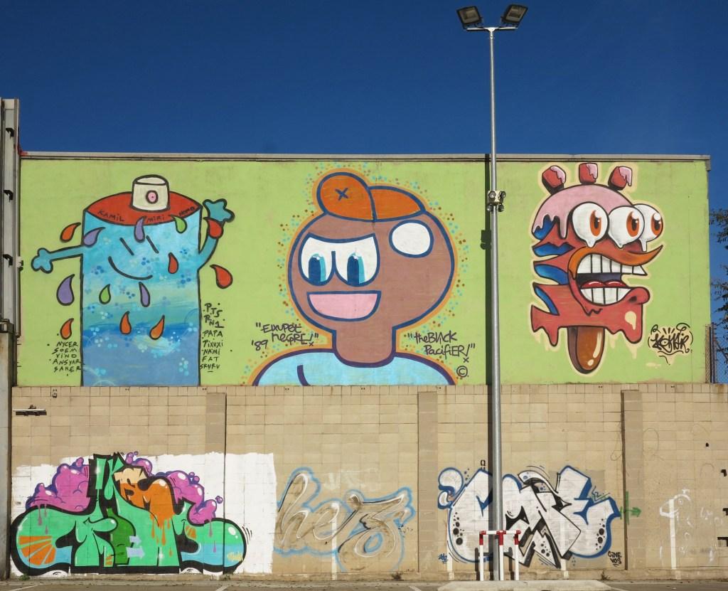 Kamil, El Xupet Negre y Konair arte urbano en Barcelona