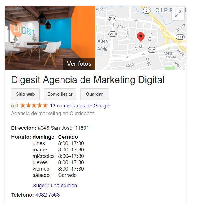 horarios del negocio en google my business