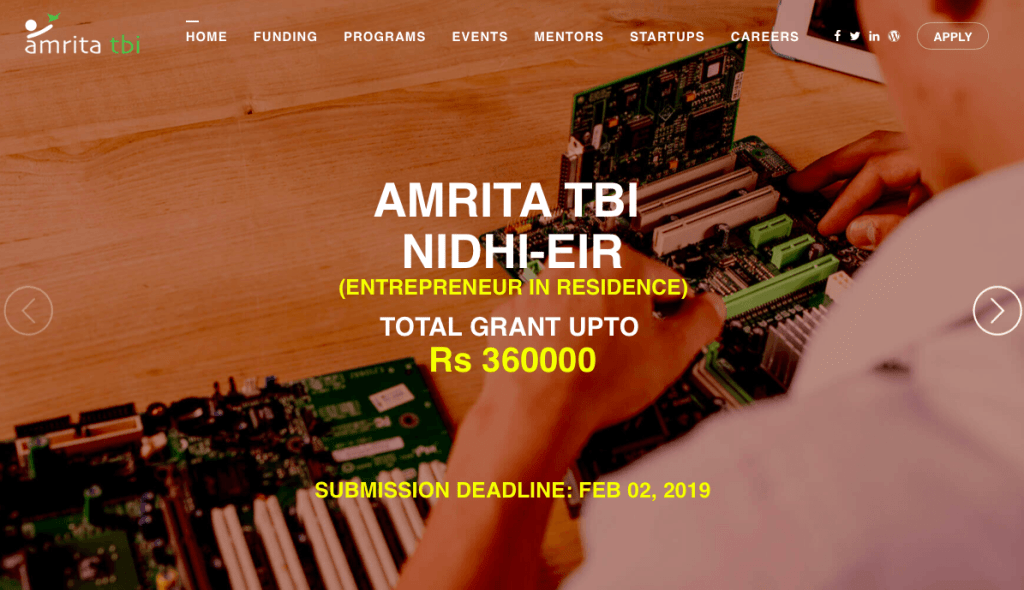 startup business grants Amrita TBI