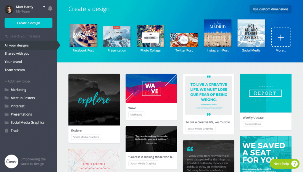 marketing tools for startups - Canva